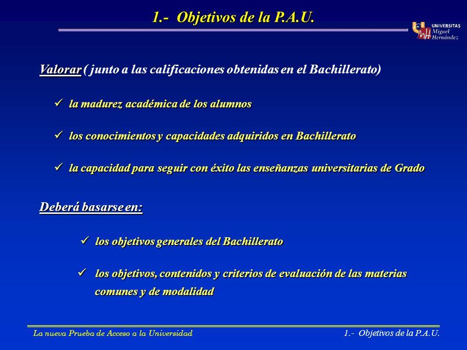 2.- Estructura de la Prueba de Acceso 2.- Estructura de la P.A.U.