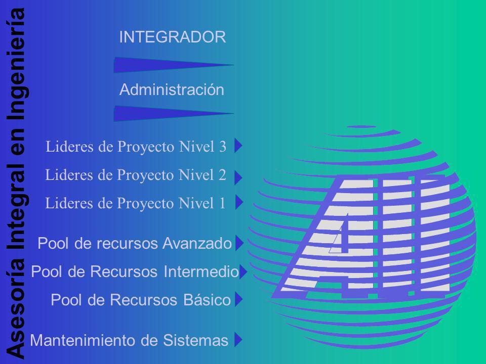 Asesoría Integral en Ingeniería Lideres de Proyecto Nivel 3 INTEGRADOR Administración Mantenimiento de Sistemas Pool de recursos Avanzado Pool de Recursos Intermedio Pool de Recursos Básico Lideres de Proyecto Nivel 2 Lideres de Proyecto Nivel 1