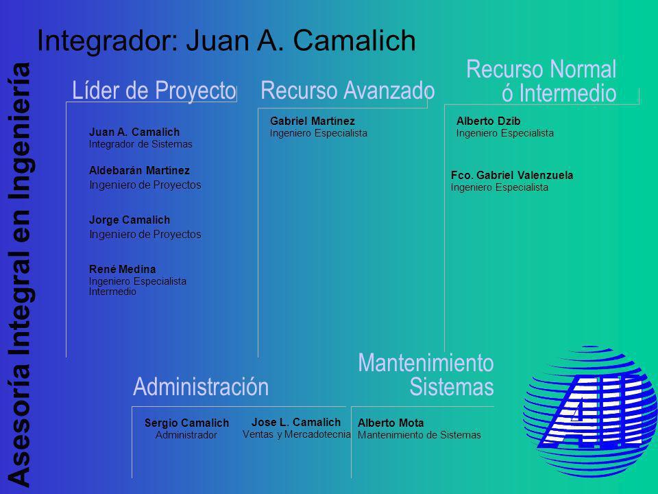 Asesoría Integral en Ingeniería Alberto Dzib Ingeniero Especialista Recurso Normal ó Intermedio Líder de ProyectoRecurso Avanzado Integrador: Juan A.