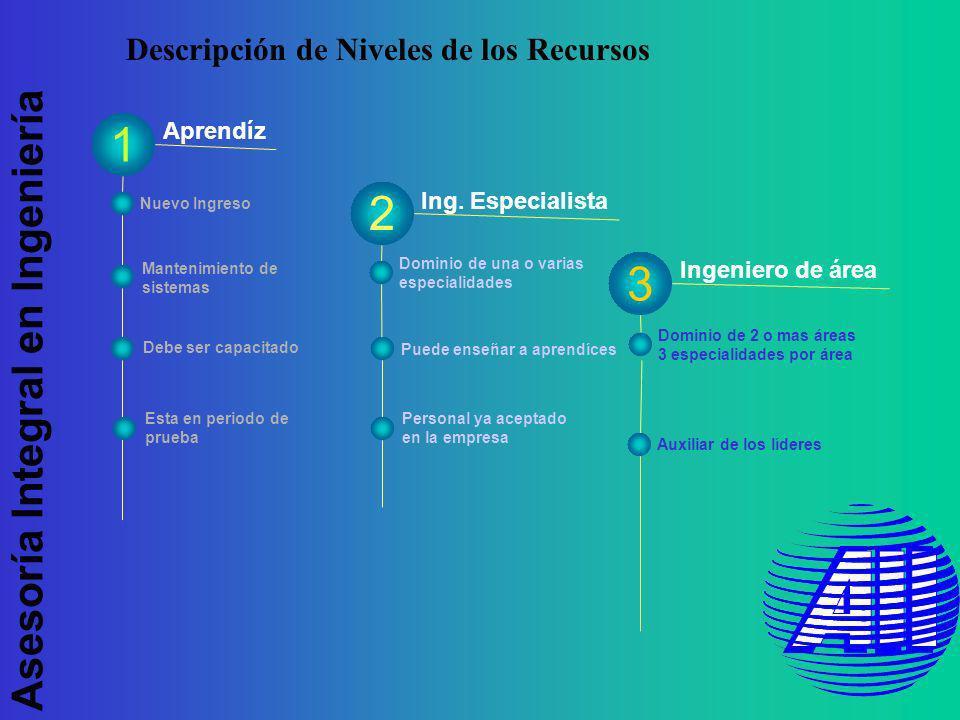 Asesoría Integral en Ingeniería Descripción de Niveles de los Recursos Aprendíz Ing.