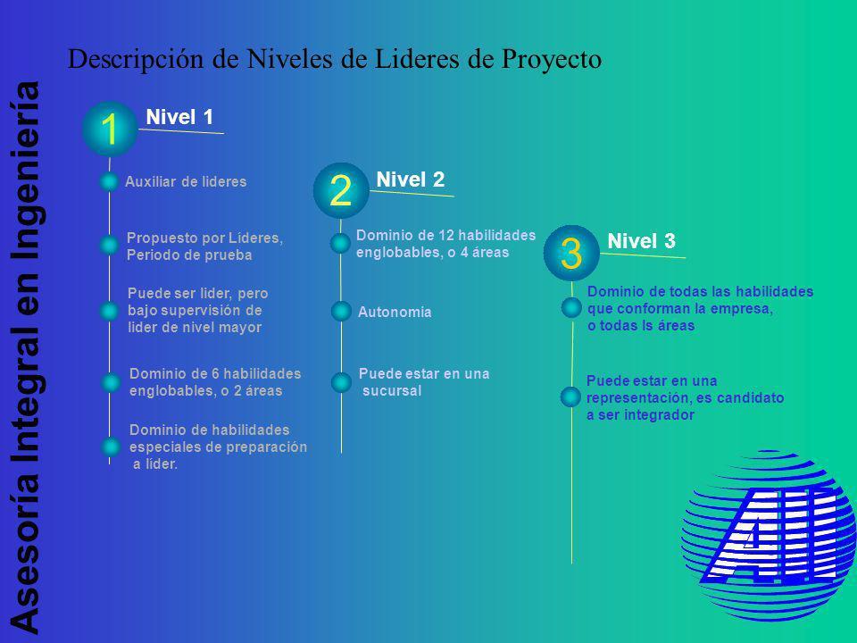 Asesoría Integral en Ingeniería Nivel 1 Nivel 2 1 Nivel 3 Puede ser lider, pero bajo supervisión de lider de nivel mayor Auxiliar de lideres Propuesto por Líderes, Periodo de prueba Dominio de todas las habilidades que conforman la empresa, o todas ls áreas Puede estar en una representación, es candidato a ser integrador Puede estar en una sucursal Dominio de 12 habilidades englobables, o 4 áreas Autonomia 3 2 Dominio de 6 habilidades englobables, o 2 áreas Descripción de Niveles de Lideres de Proyecto Dominio de habilidades especiales de preparación a líder.