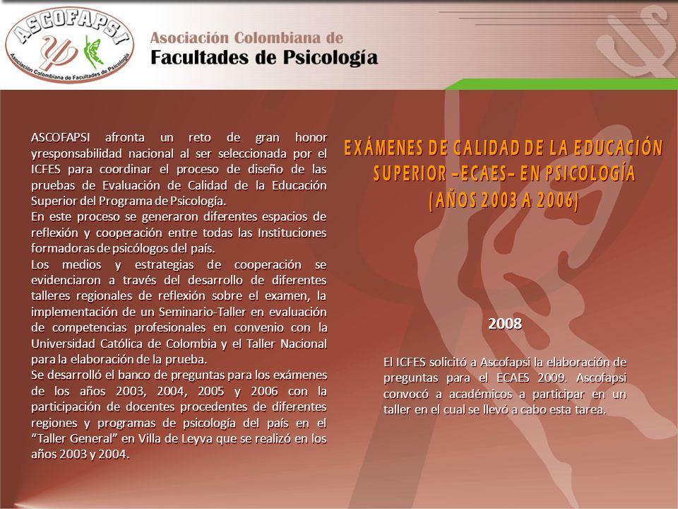 2008 El ICFES solicitó a Ascofapsi la elaboración de preguntas para el ECAES 2009. Ascofapsi convocó a académicos a participar en un taller en el cual