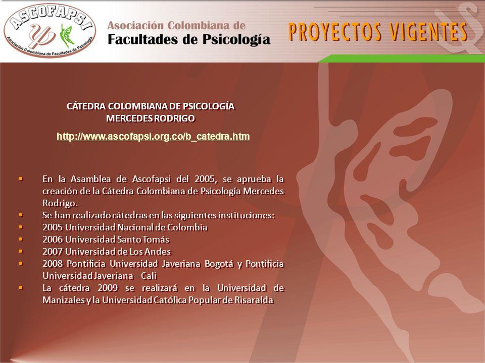 CÁTEDRA COLOMBIANA DE PSICOLOGÍA MERCEDES RODRIGO En la Asamblea de Ascofapsi del 2005, se aprueba la creación de la Cátedra Colombiana de Psicología