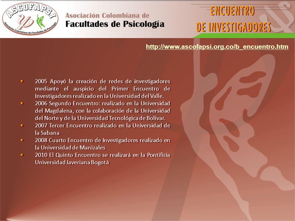 2005 Apoyó la creación de redes de investigadores mediante el auspicio del Primer Encuentro de Investigadores realizado en la Universidad del Valle. 2