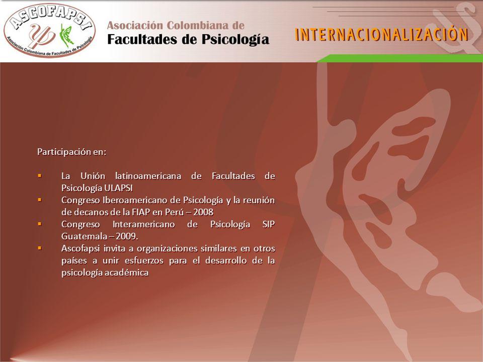 Participación en: La Unión latinoamericana de Facultades de Psicología ULAPSI Congreso Iberoamericano de Psicología y la reunión de decanos de la FIAP
