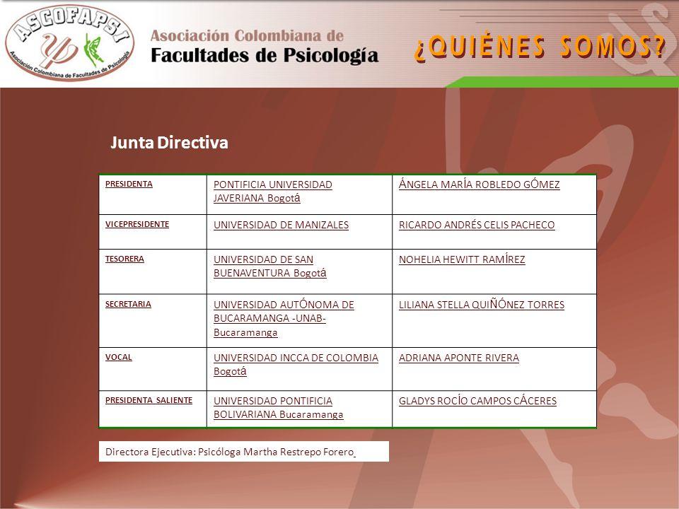 http://www.colpsic.info/congreso2/index.asp Se realizará en el 2009 en tres sedes: Bogotá Medellín Cartagena Cuenta con la participación de conferencistas nacionales e internacionales de reconocida trayectoria académica y profesional.