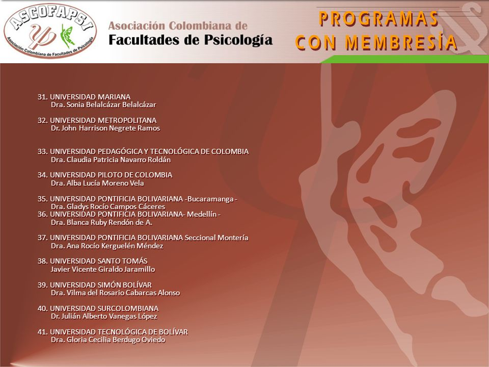 Apoyo al Colegio Colombiano de Psicólogos COLPSIC mediante la interacción permanente, en procura del fortalecimiento profesional y disciplinar de la psicología colombiana.