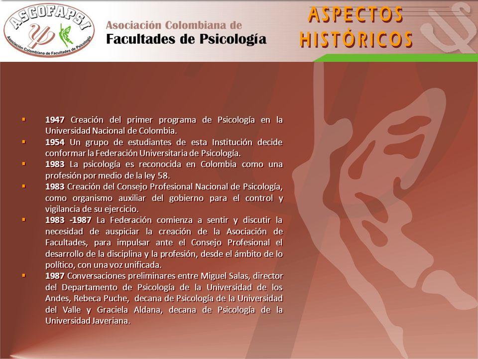 1947 Creación del primer programa de Psicología en la Universidad Nacional de Colombia. 1954 Un grupo de estudiantes de esta Institución decide confor