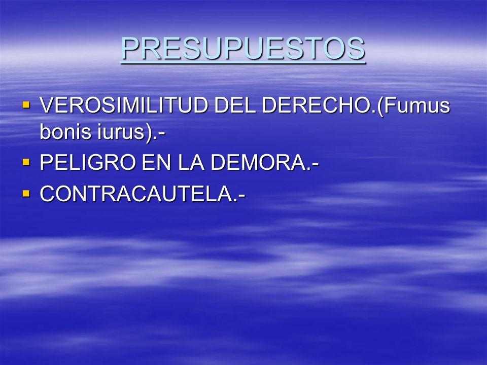 PRESUPUESTOS VEROSIMILITUD DEL DERECHO.(Fumus bonis iurus).- VEROSIMILITUD DEL DERECHO.(Fumus bonis iurus).- PELIGRO EN LA DEMORA.- PELIGRO EN LA DEMO