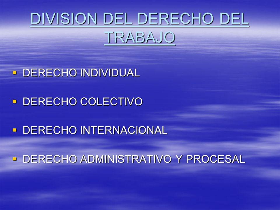 DIVISION DEL DERECHO DEL TRABAJO DERECHO INDIVIDUAL DERECHO INDIVIDUAL DERECHO COLECTIVO DERECHO COLECTIVO DERECHO INTERNACIONAL DERECHO INTERNACIONAL