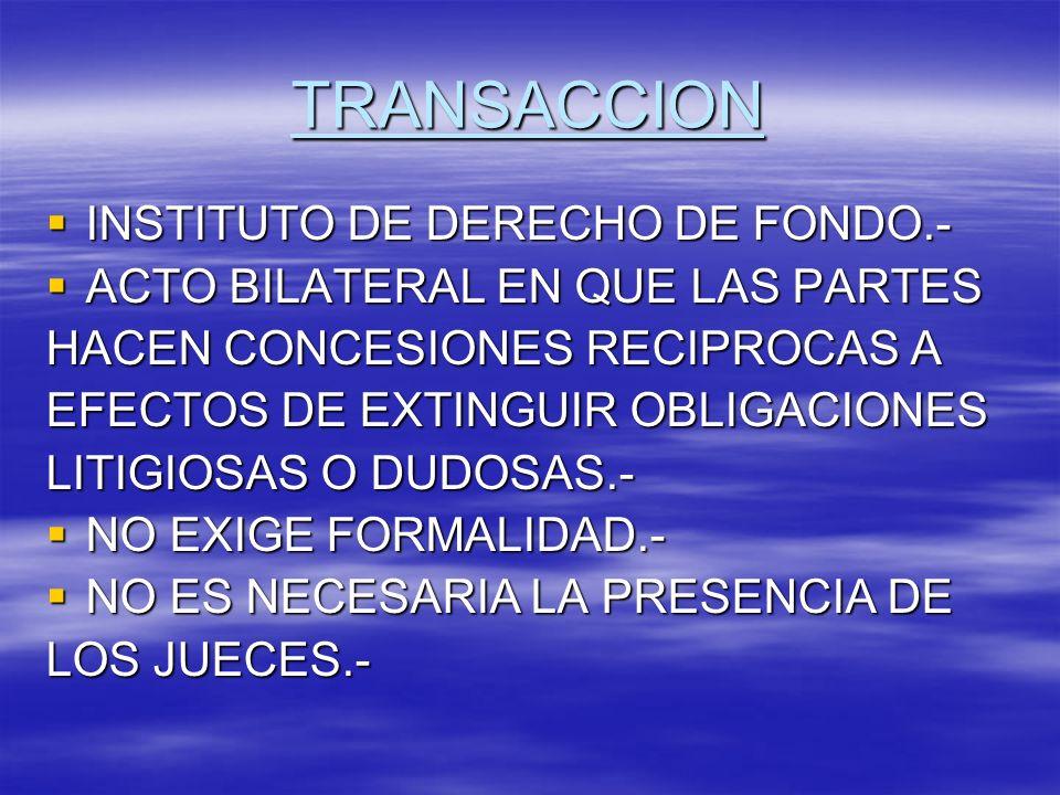 TRANSACCION INSTITUTO DE DERECHO DE FONDO.- INSTITUTO DE DERECHO DE FONDO.- ACTO BILATERAL EN QUE LAS PARTES ACTO BILATERAL EN QUE LAS PARTES HACEN CO