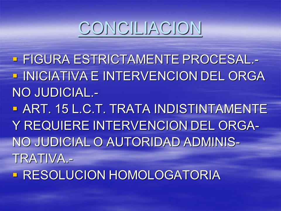 CONCILIACION FIGURA ESTRICTAMENTE PROCESAL.- FIGURA ESTRICTAMENTE PROCESAL.- INICIATIVA E INTERVENCION DEL ORGA INICIATIVA E INTERVENCION DEL ORGA NO