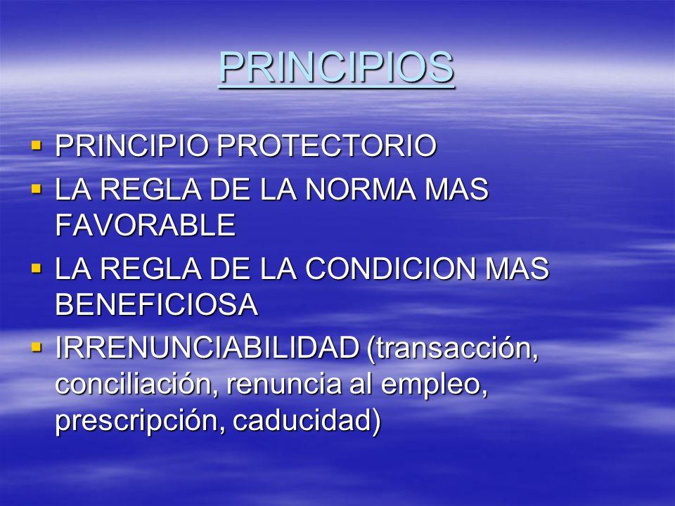 PRINCIPIOS CONTINUIDAD DE LA RELACION LABORAL CONTINUIDAD DE LA RELACION LABORAL PRIMACIA DE LA REALIDAD PRIMACIA DE LA REALIDAD BUENA FE BUENA FE NO DISCRIMINACION E IGUALDAD DE TRATO NO DISCRIMINACION E IGUALDAD DE TRATO EQUIDAD EQUIDAD JUSTICIA SOCIAL JUSTICIA SOCIAL