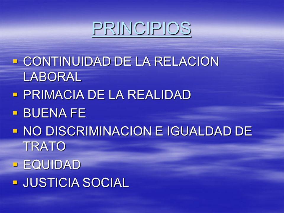 PRINCIPIOS CONTINUIDAD DE LA RELACION LABORAL CONTINUIDAD DE LA RELACION LABORAL PRIMACIA DE LA REALIDAD PRIMACIA DE LA REALIDAD BUENA FE BUENA FE NO