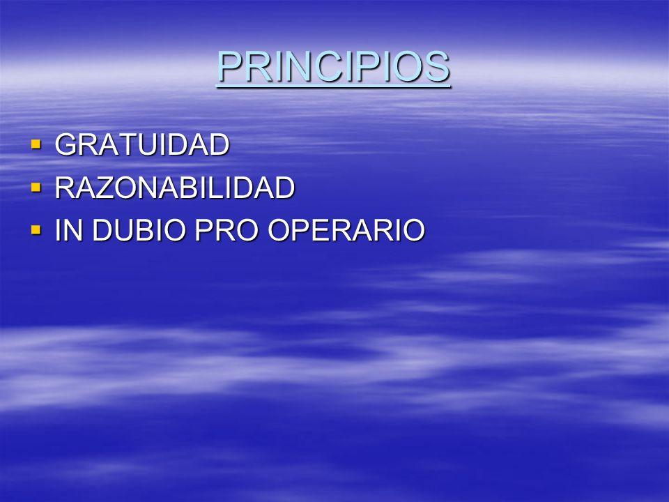 PRINCIPIOS GRATUIDAD GRATUIDAD RAZONABILIDAD RAZONABILIDAD IN DUBIO PRO OPERARIO IN DUBIO PRO OPERARIO