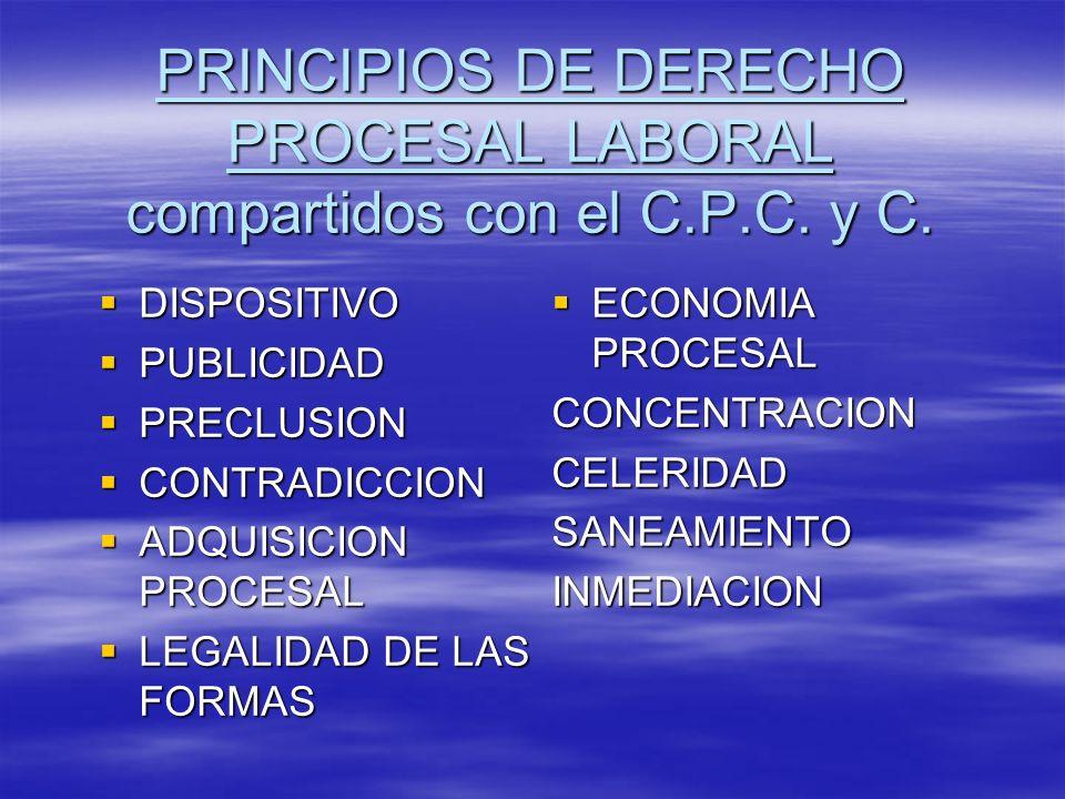 PRINCIPIOS DE DERECHO PROCESAL LABORAL compartidos con el C.P.C. y C. DISPOSITIVO DISPOSITIVO PUBLICIDAD PUBLICIDAD PRECLUSION PRECLUSION CONTRADICCIO