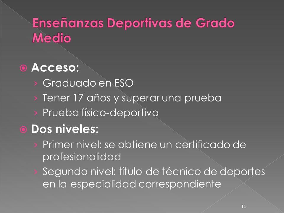 10 Acceso: Graduado en ESO Tener 17 años y superar una prueba Prueba físico-deportiva Dos niveles: Primer nivel: se obtiene un certificado de profesio