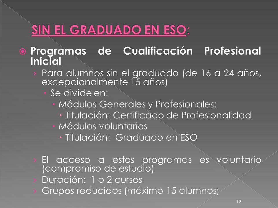 12 Programas de Cualificación Profesional Inicial Para alumnos sin el graduado (de 16 a 24 años, excepcionalmente 15 años) Se divide en: Módulos Gener