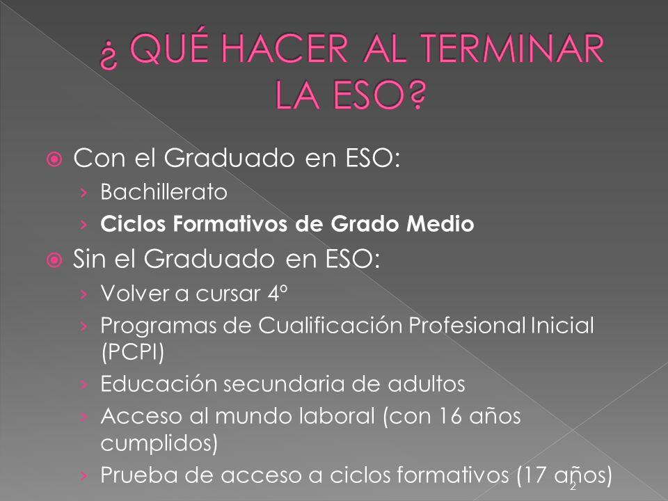 2 Con el Graduado en ESO: Bachillerato Ciclos Formativos de Grado Medio Sin el Graduado en ESO: Volver a cursar 4º Programas de Cualificación Profesio