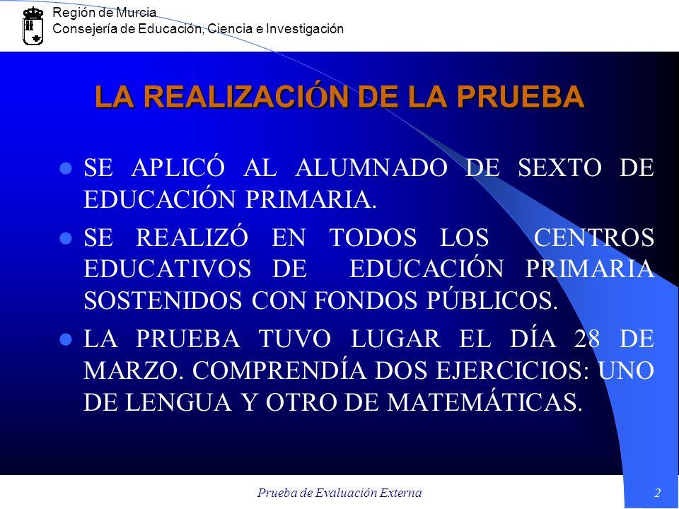 Región de Murcia Consejería de Educación, Ciencia e Investigación Prueba de Evaluación Externa2 LA REALIZACI Ó N DE LA PRUEBA SE APLICÓ AL ALUMNADO DE