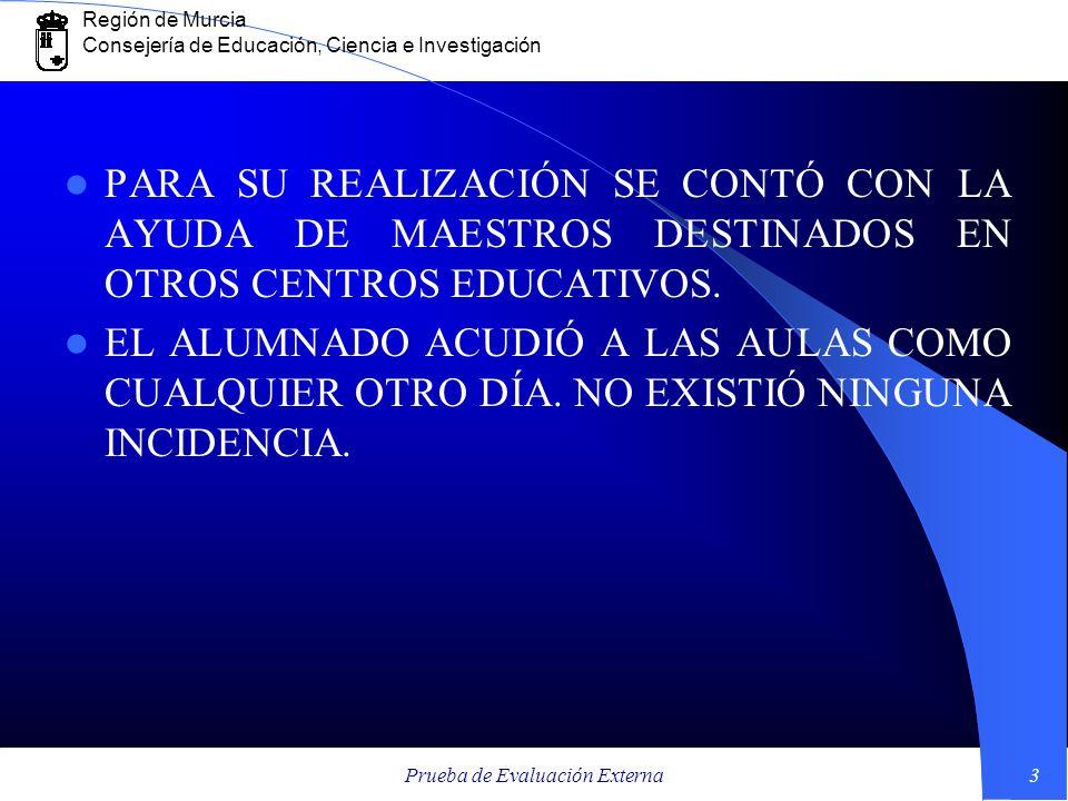 Región de Murcia Consejería de Educación, Ciencia e Investigación Prueba de Evaluación Externa3 PARA SU REALIZACIÓN SE CONTÓ CON LA AYUDA DE MAESTROS