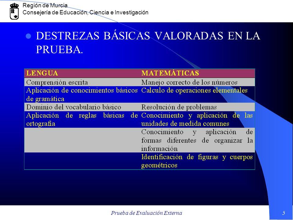 Región de Murcia Consejería de Educación, Ciencia e Investigación Prueba de Evaluación Externa5 DESTREZAS BÁSICAS VALORADAS EN LA PRUEBA.