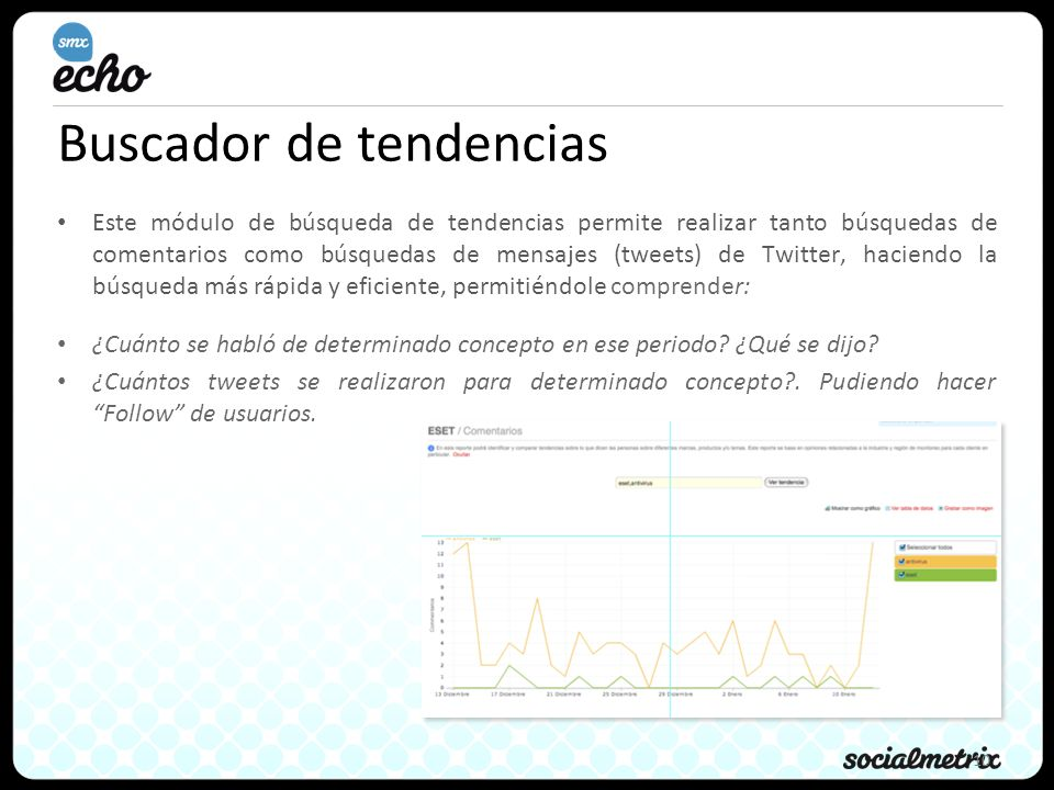 10 Buscador de tendencias Este módulo de búsqueda de tendencias permite realizar tanto búsquedas de comentarios como búsquedas de mensajes (tweets) de