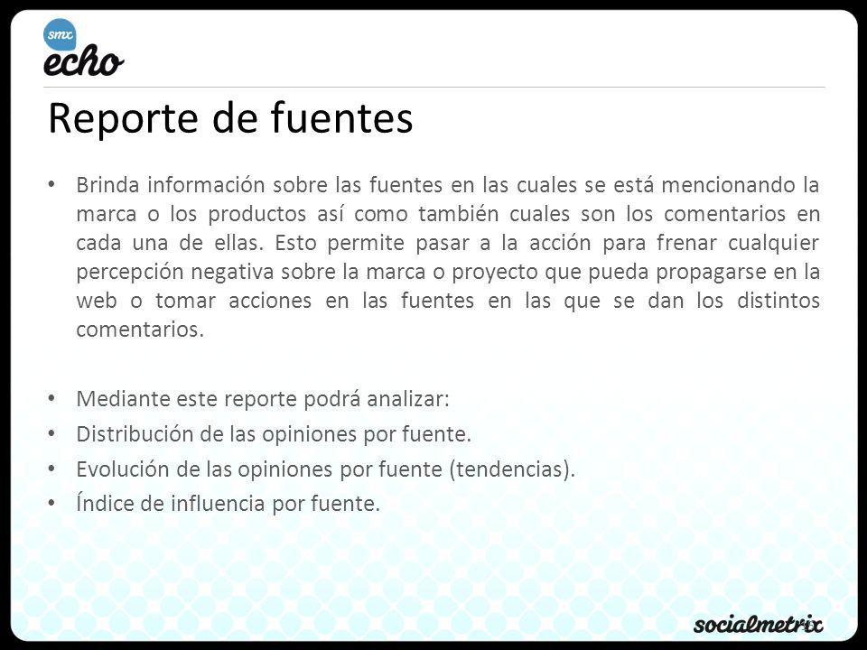 15 Reporte de fuentes Brinda información sobre las fuentes en las cuales se está mencionando la marca o los productos así como también cuales son los comentarios en cada una de ellas.