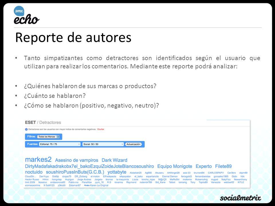 18 Reporte de autores Tanto simpatizantes como detractores son identificados según el usuario que utilizan para realizar los comentarios.