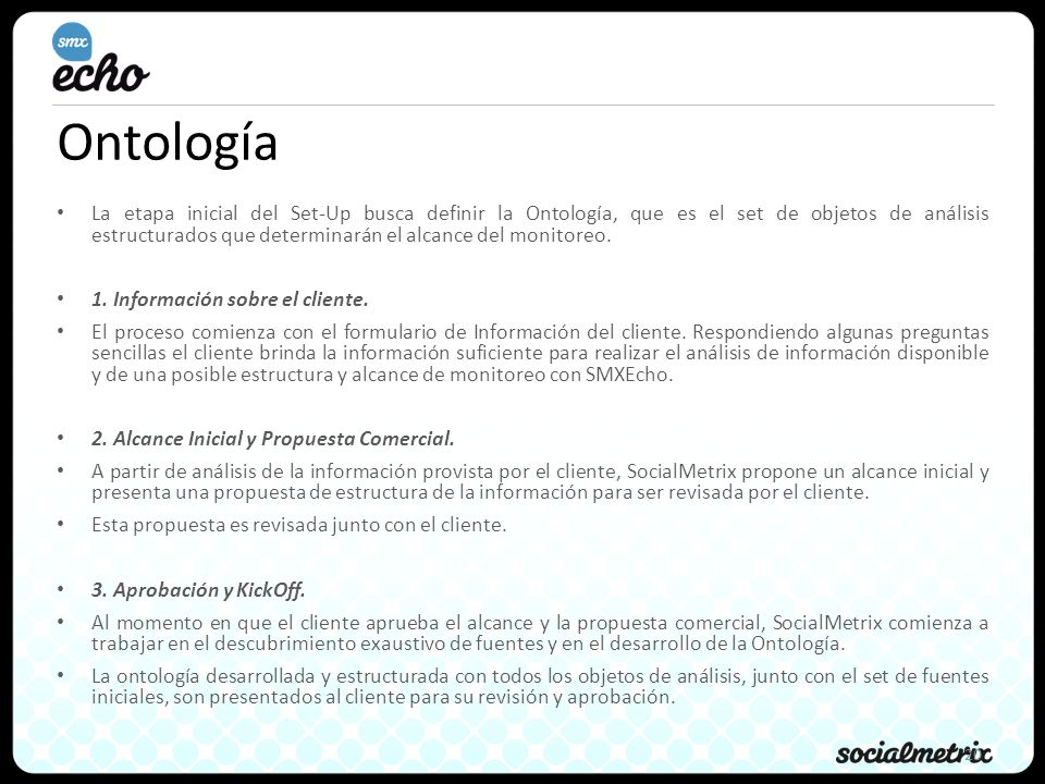 20 Ontología La etapa inicial del Set-Up busca definir la Ontología, que es el set de objetos de análisis estructurados que determinarán el alcance del monitoreo.