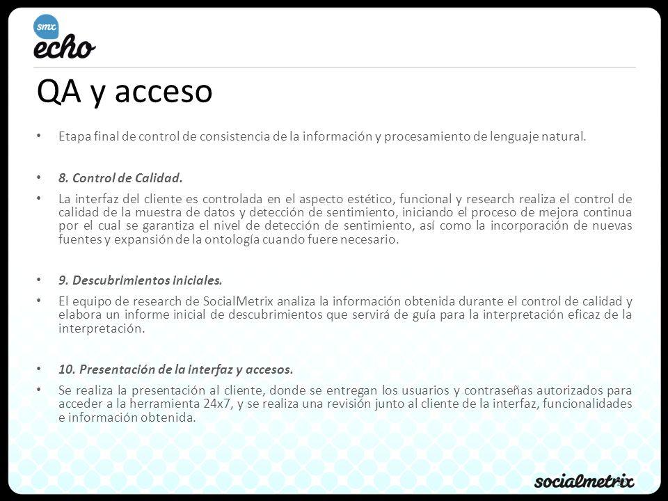 23 QA y acceso Etapa final de control de consistencia de la información y procesamiento de lenguaje natural. 8. Control de Calidad. La interfaz del cl