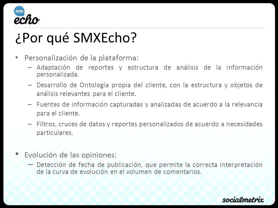 3 ¿Por qué SMXEcho? Personalización de la plataforma: – Adaptación de reportes y estructura de análisis de la información personalizada. – Desarrollo