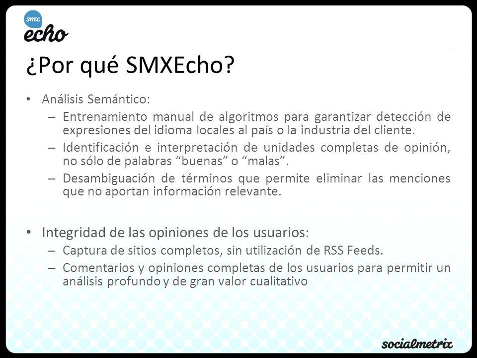 4 ¿Por qué SMXEcho? Análisis Semántico: – Entrenamiento manual de algoritmos para garantizar detección de expresiones del idioma locales al país o la