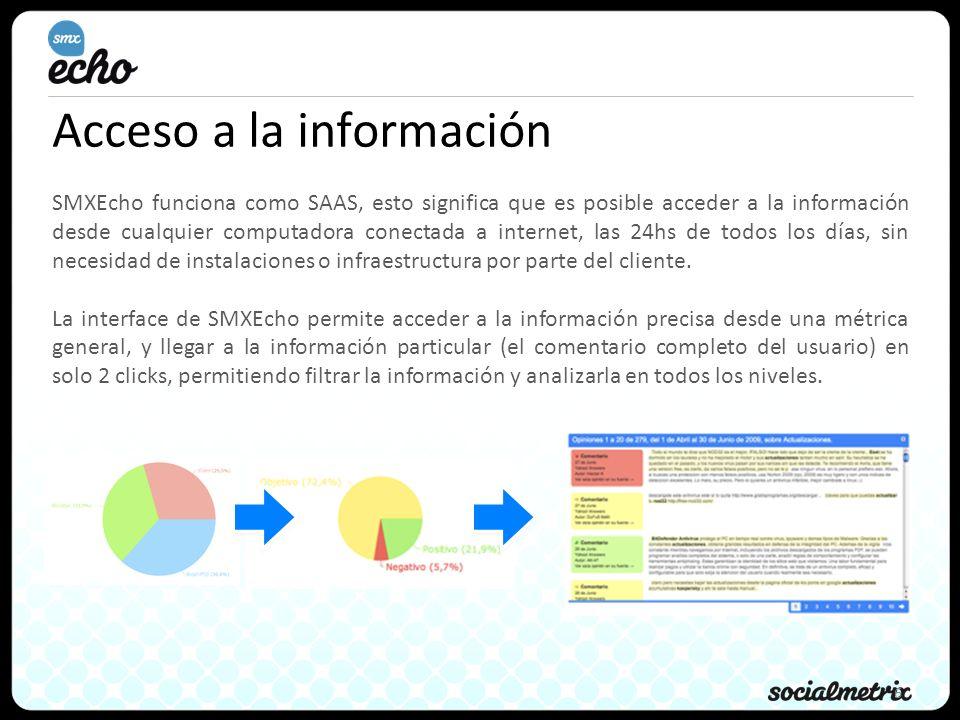6 Acceso a la información SMXEcho funciona como SAAS, esto significa que es posible acceder a la información desde cualquier computadora conectada a i