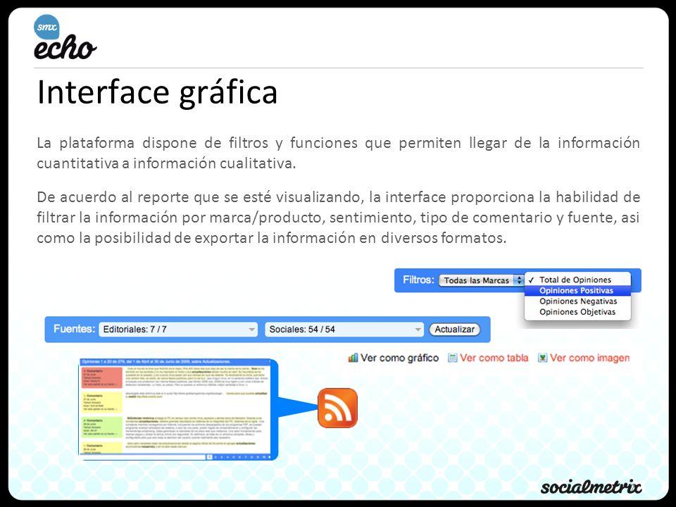 7 Interface gráfica La plataforma dispone de filtros y funciones que permiten llegar de la información cuantitativa a información cualitativa. De acue