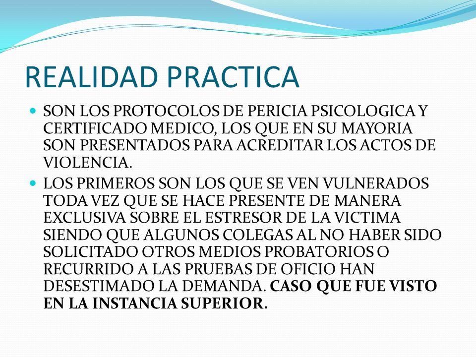REALIDAD PRACTICA SON LOS PROTOCOLOS DE PERICIA PSICOLOGICA Y CERTIFICADO MEDICO, LOS QUE EN SU MAYORIA SON PRESENTADOS PARA ACREDITAR LOS ACTOS DE VI