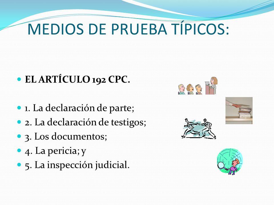 MEDIOS DE PRUEBA TÍPICOS: EL ARTÍCULO 192 CPC. 1. La declaración de parte; 2. La declaración de testigos; 3. Los documentos; 4. La pericia; y 5. La in