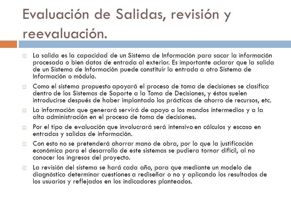 Evaluación de Salidas, revisión y reevaluación. La salida es la capacidad de un Sistema de Información para sacar la información procesada o bien dato