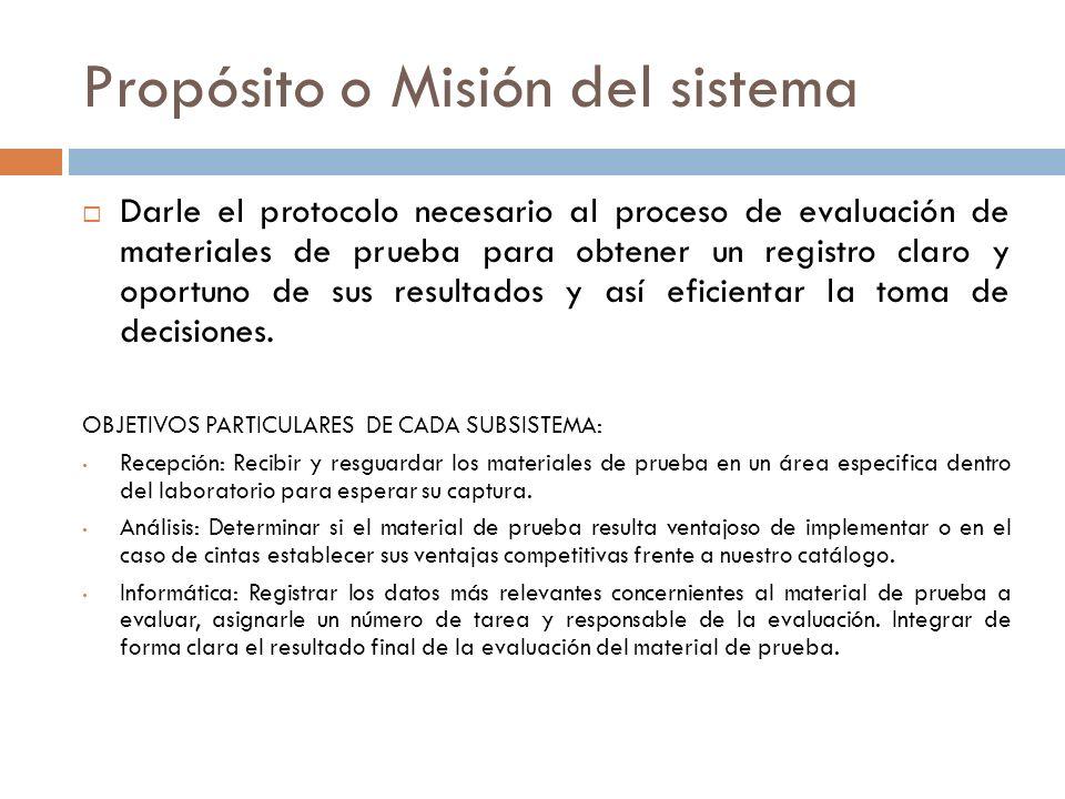 Propósito o Misión del sistema Darle el protocolo necesario al proceso de evaluación de materiales de prueba para obtener un registro claro y oportuno