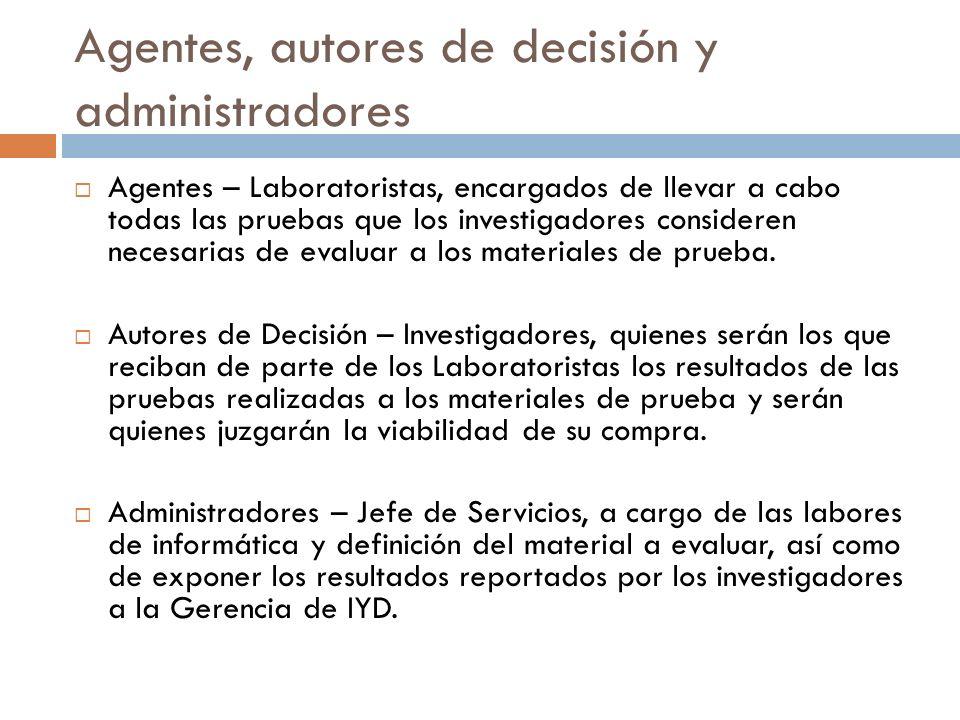 Agentes, autores de decisión y administradores Agentes – Laboratoristas, encargados de llevar a cabo todas las pruebas que los investigadores consider