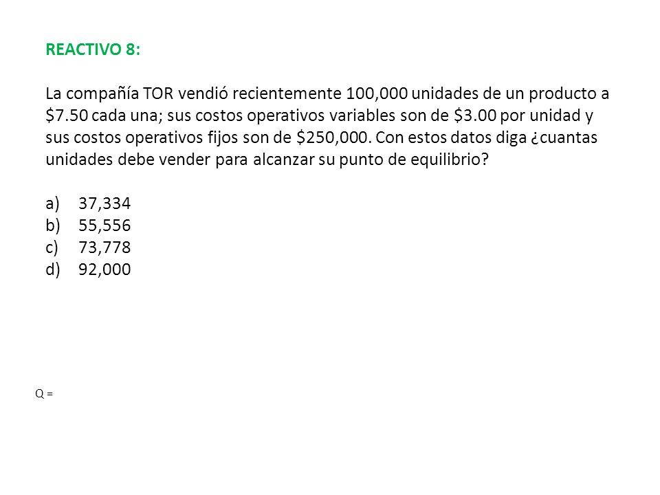 REACTIVO 8: La compañía TOR vendió recientemente 100,000 unidades de un producto a $7.50 cada una; sus costos operativos variables son de $3.00 por un