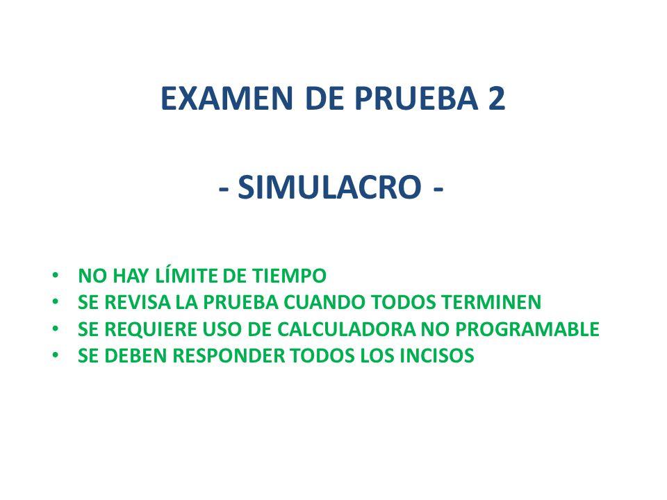 EXAMEN DE PRUEBA 2 - SIMULACRO - NO HAY LÍMITE DE TIEMPO SE REVISA LA PRUEBA CUANDO TODOS TERMINEN SE REQUIERE USO DE CALCULADORA NO PROGRAMABLE SE DE