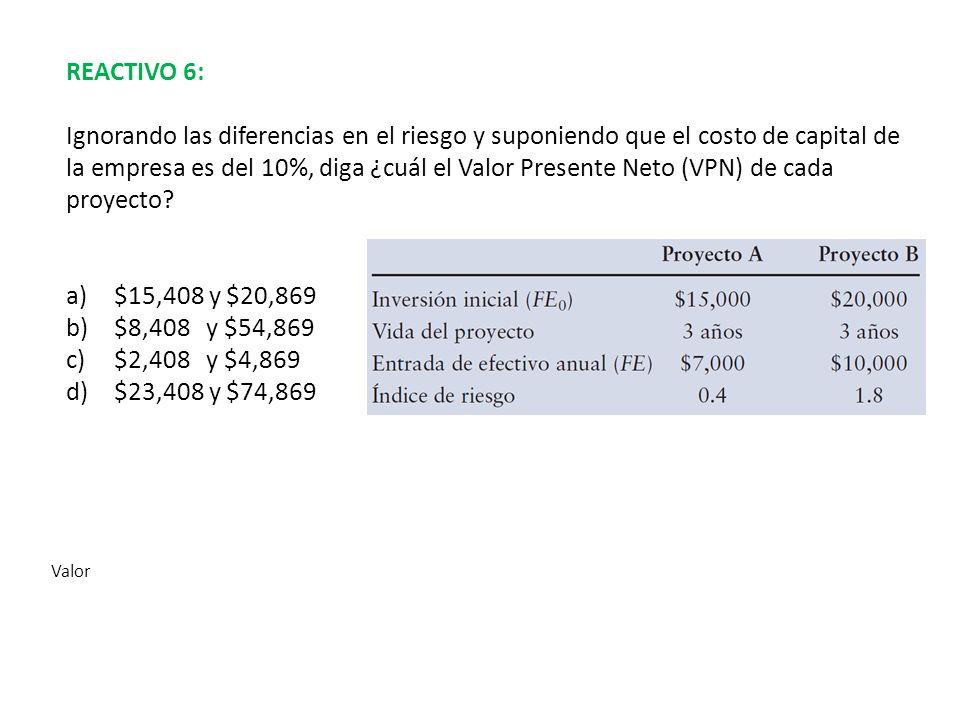 REACTIVO 6: Ignorando las diferencias en el riesgo y suponiendo que el costo de capital de la empresa es del 10%, diga ¿cuál el Valor Presente Neto (V