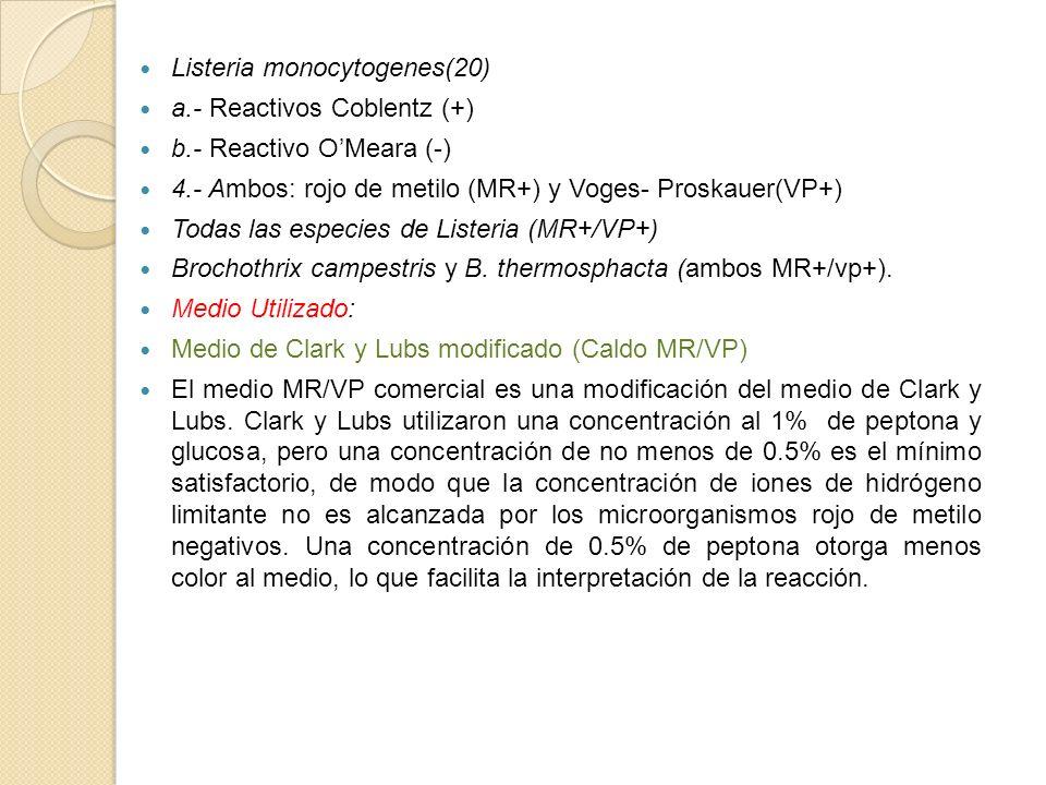Listeria monocytogenes(20) a.- Reactivos Coblentz (+) b.- Reactivo OMeara (-) 4.- Ambos: rojo de metilo (MR+) y Voges- Proskauer(VP+) Todas las especi