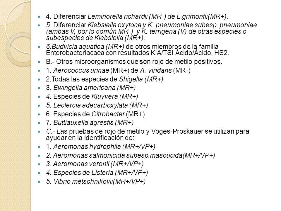 4. Diferenciar Leminorella richardii (MR-) de L.grimontii(MR+). 5. Diferenciar Klebsiella oxytoca y K. pneumoniae subesp. pneumoniae (ambas V, por lo