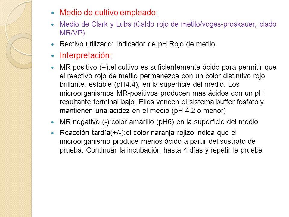 Medio de cultivo empleado: Medio de Clark y Lubs (Caldo rojo de metilo/voges-proskauer, clado MR/VP) Rectivo utilizado: Indicador de pH Rojo de metilo