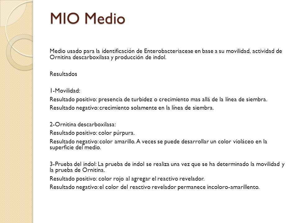 MIO Medio Medio usado para la identificación de Enterobacteriaceae en base a su movilidad, actividad de Ornitina descarboxilasa y producción de indol.