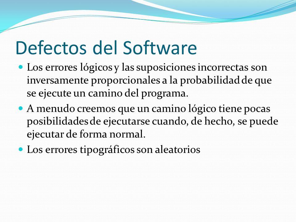 Defectos del Software Los errores lógicos y las suposiciones incorrectas son inversamente proporcionales a la probabilidad de que se ejecute un camino