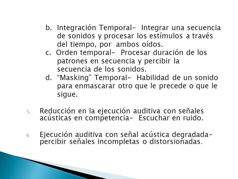 b. Integración Temporal- Integrar una secuencia de sonidos y procesar los estímulos a través del tiempo, por ambos oídos. c. Orden temporal- Procesar