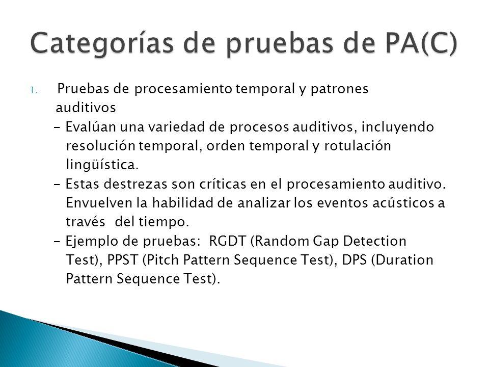 1. Pruebas de procesamiento temporal y patrones auditivos - Evalúan una variedad de procesos auditivos, incluyendo resolución temporal, orden temporal